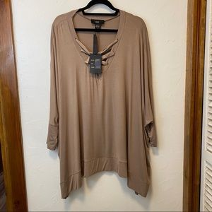 Dolman Sleeves and Lace Up Neckline Tunic